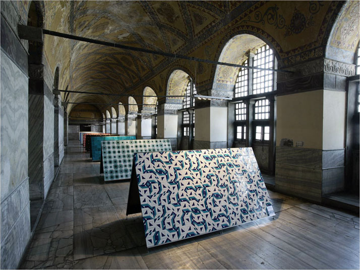 "Installation view of ""In tiles/Variations of iteration as a problem of surface"" An exhibition curated by Nevzat Sayin in Hagia Sophia Museum, West gal"