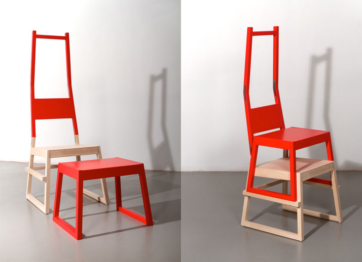Chair and Stool by Hannes LennartssonThe matter of the unintended Measurements //  Chair / Stool l 540 × w 530 × h 1400 mm // l 460 × w 420 × h 400 mm
