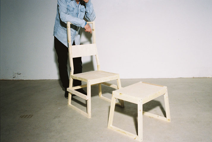 Chair and Stool by Hannes LennartssonThe matter of the unintendedMeasurements // Chair / Stooll 540 × w 530 × h 1400 mm // l 460 × w 420 × h 400 mmpho