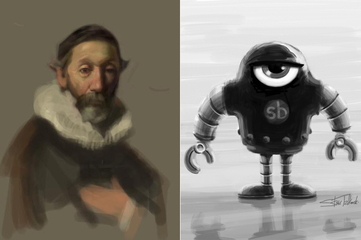 Paintings with Nomad Brush on iPadleft: Rembrandt Study by David Kassanright: Sketchbot Monochrome by Steve Talkowski