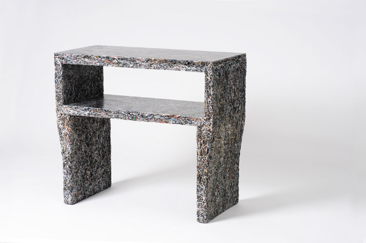 The Shredded Collection Sidetable (Details Edition) is made from 6 kg Details magazine leftovers and clear resin...Materials: Shredded Details magazin