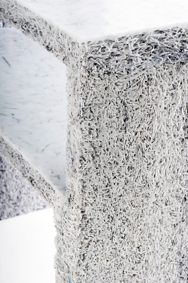 The Shredded Collection Sidetable (White Edition), detailphoto by Kaitey Whitehead © 2011, studio Jens Praet for Industry Gallery
