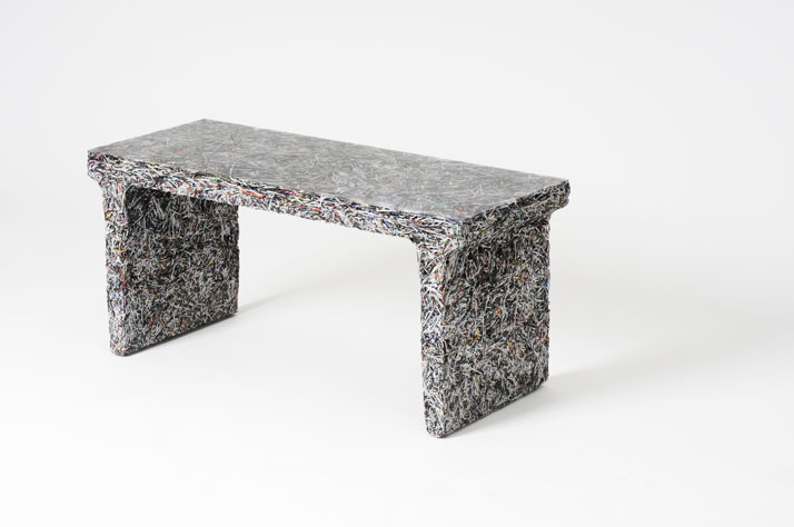 The Shredded Collection Bench (Capitol File Edition) is made from 3 kg Capitol File magazine left overs and clear resin...Materials: Shredded Capitol