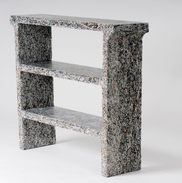 The Shredded Collection Console (Art in America Edition) is made from 5 kg Art in America magazine leftovers and clear resin...Materials: Shredded Art
