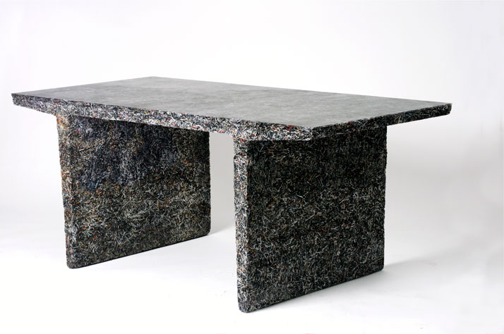 The Shredded Collection Table (Fast Company Edition) is made from 26 kg Fast Company magazine leftovers and clear resin...Materials: Shredded Fast Com