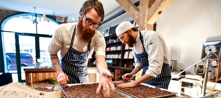 Rick and Michael sort through the cacao beansphoto © Mindy Best