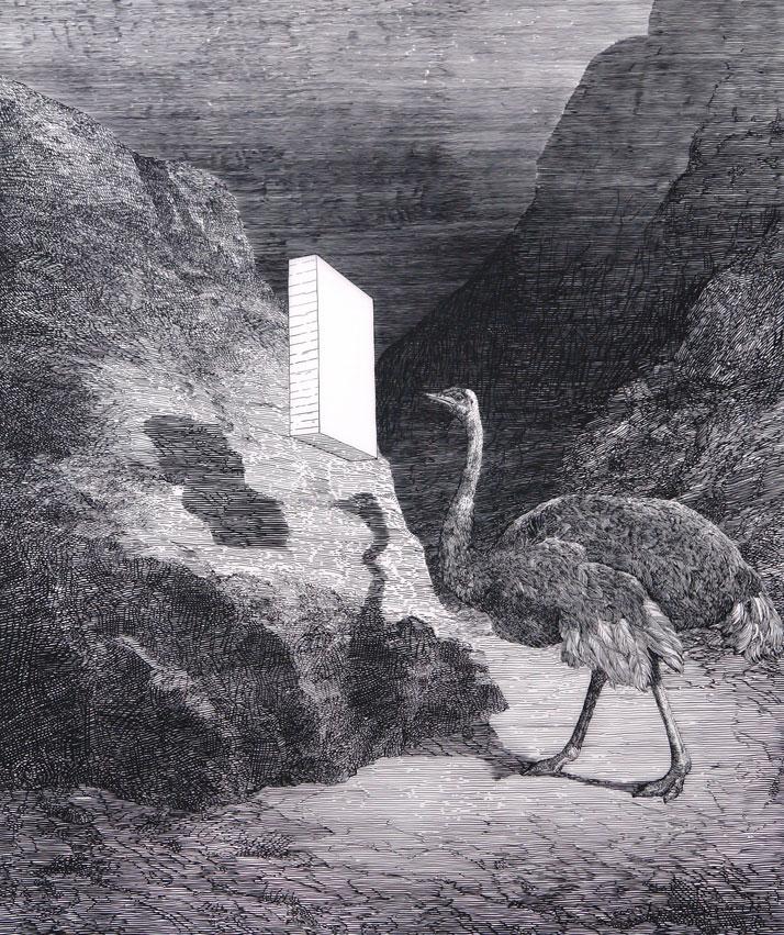 Daniel ARSHAMOstrich2010Gouache sur calque / Gouache on mylar126,4 x 108 cm / 49 3/4 x 42 1/2 inchesCourtesy Galerie Perrotin, Paris