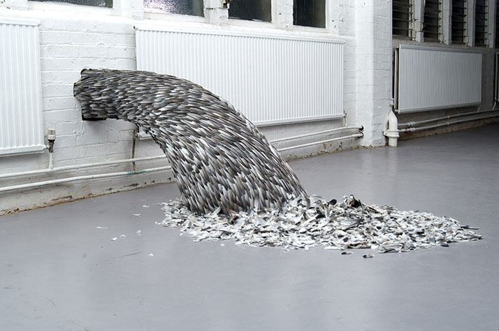 Heave, 2008 © Kate MccGwirePigeon flight-feathers, felt and wood installation160 x 80 x 55 cm
