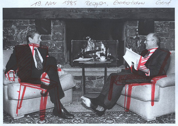 sketch >> Ronald Reagan and Michail GorbatschowCourtesy of Tino Seubert