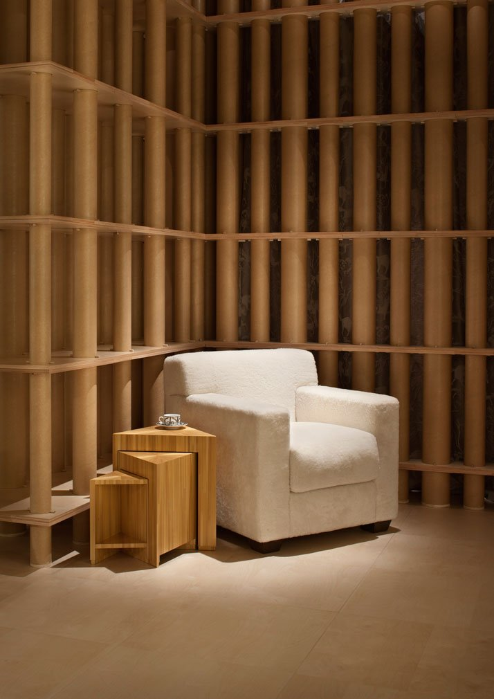 Cupboard of secrets and comfortable club chair by Jean-Michel FrankHermès space at La Pelota, in Via Palermo, Milan 2011 photo © Santi Caleca