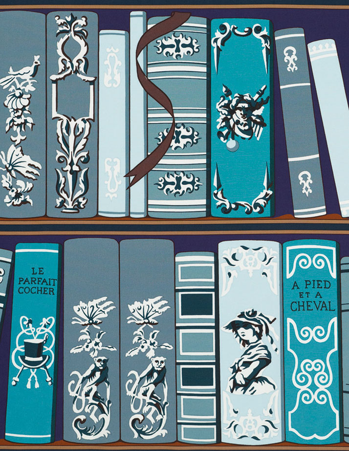 Bibliothèque furnishing fabric designed by Hugo Gryckar, 100% cottonImage Courtesy of Hermès Paris