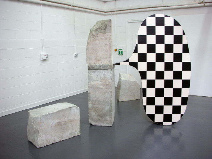 Pop-in arcadia. Marble, wood, aluminium, vinyl. 2009 // © Dexter DymokeDexter Dymoke's art accepts implausibility and resists clear ideas from the sta