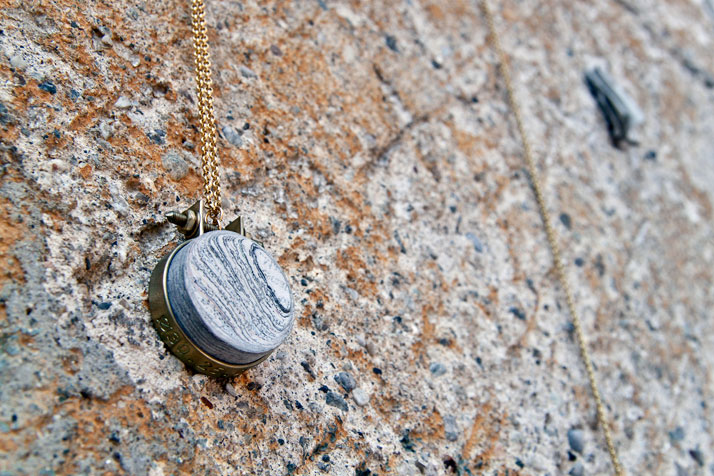 Sample series // NewspaperWood jewelry by rENs Image Courtesy of Vij5