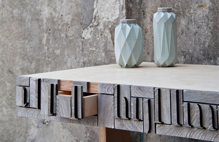 From A to Z // NewspaperWood desk by Greetje van Tiem Image Courtesy of Vij5