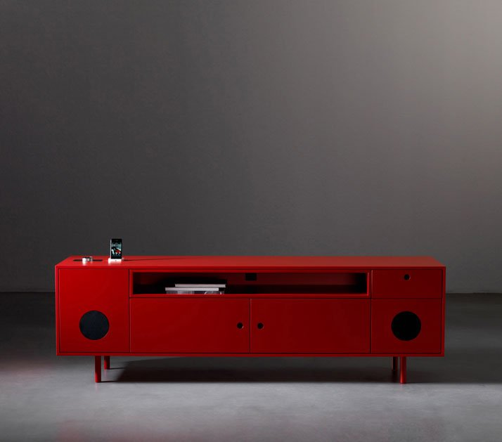 Caixa, cabinet with integrated ipod/tv high quality speaker system, Image Courtesy of Paolo Cappello