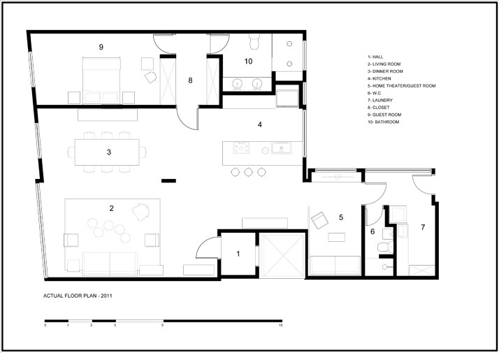 Actual Floor Plan - 2011 © Mauricio Arruda