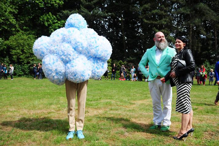 Walter Van Beirendonck and Erwin Wurm Performative Sculptures 2011photo © Gazet Van Antwerpen, Jan Van Der Perre