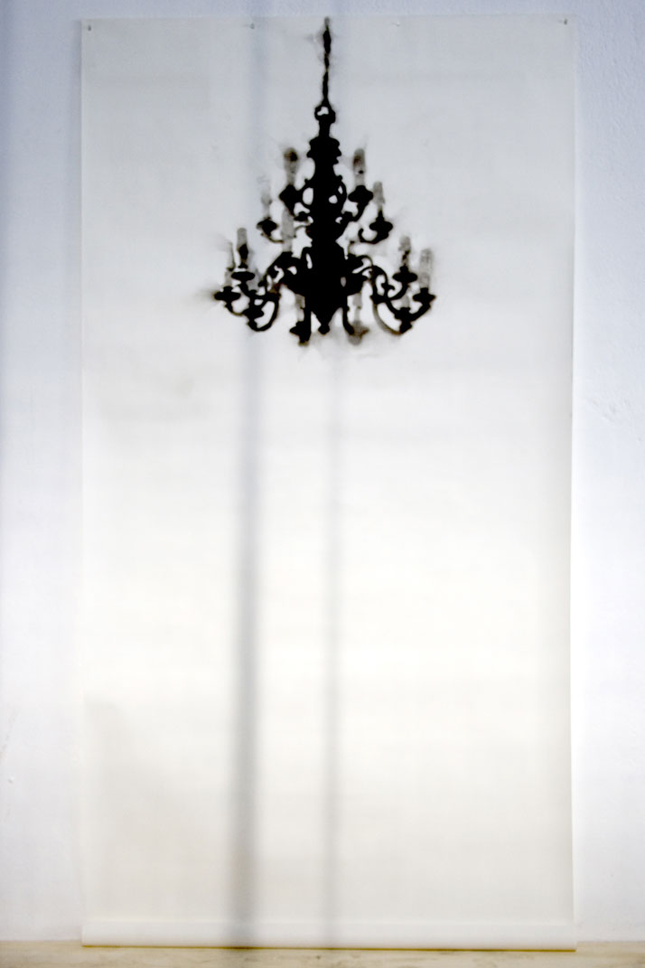 Henry Krokatsis Chandelier Nossa Senhora do Monte Serrat, 2008, Smoke from votive candles on paper, 285 (variable) x 150 cm Courtesy of Gazelli Art Ho