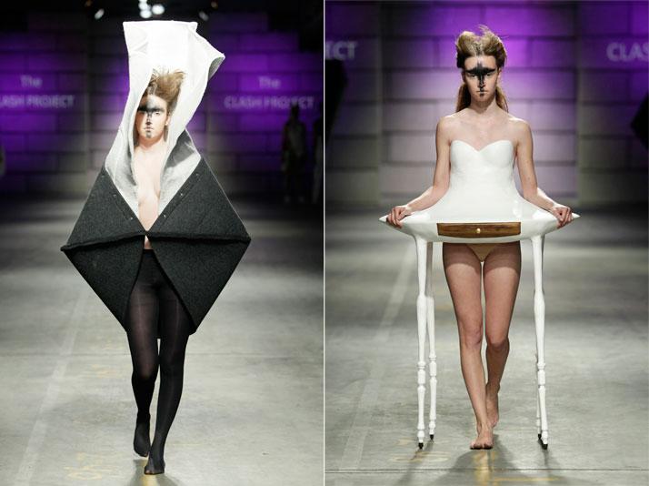 Catwalk: Frederik Färg SE (Furniture Designer) 'no title' (left), Valentin Loellmann, NL (Product Designer) 'Inspired by m.&mme' (right) photo © P