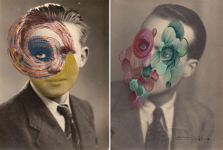 Bernard (left) and Giorgio (right), Embroidery on printphoto © Maurizio Anzeri