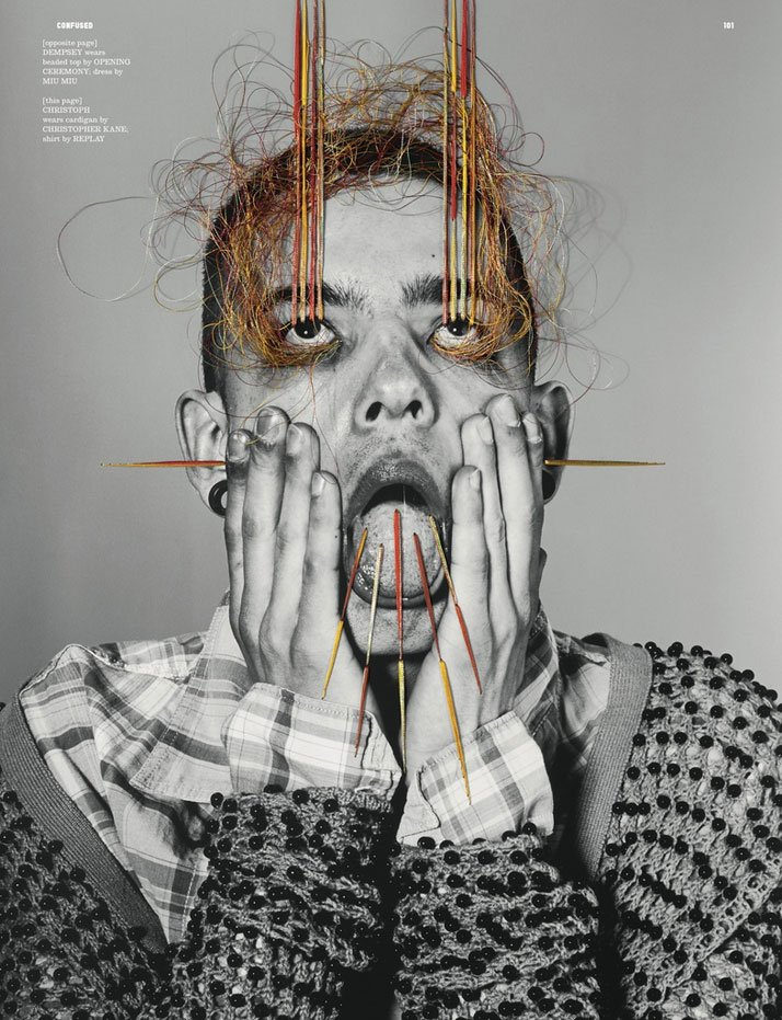 photographer: Richard Burbridge //styling: Robbie Spencer // artwork: Maurizio Anzeri,  for Dazed and Confused, June 2011 // full credits: here
