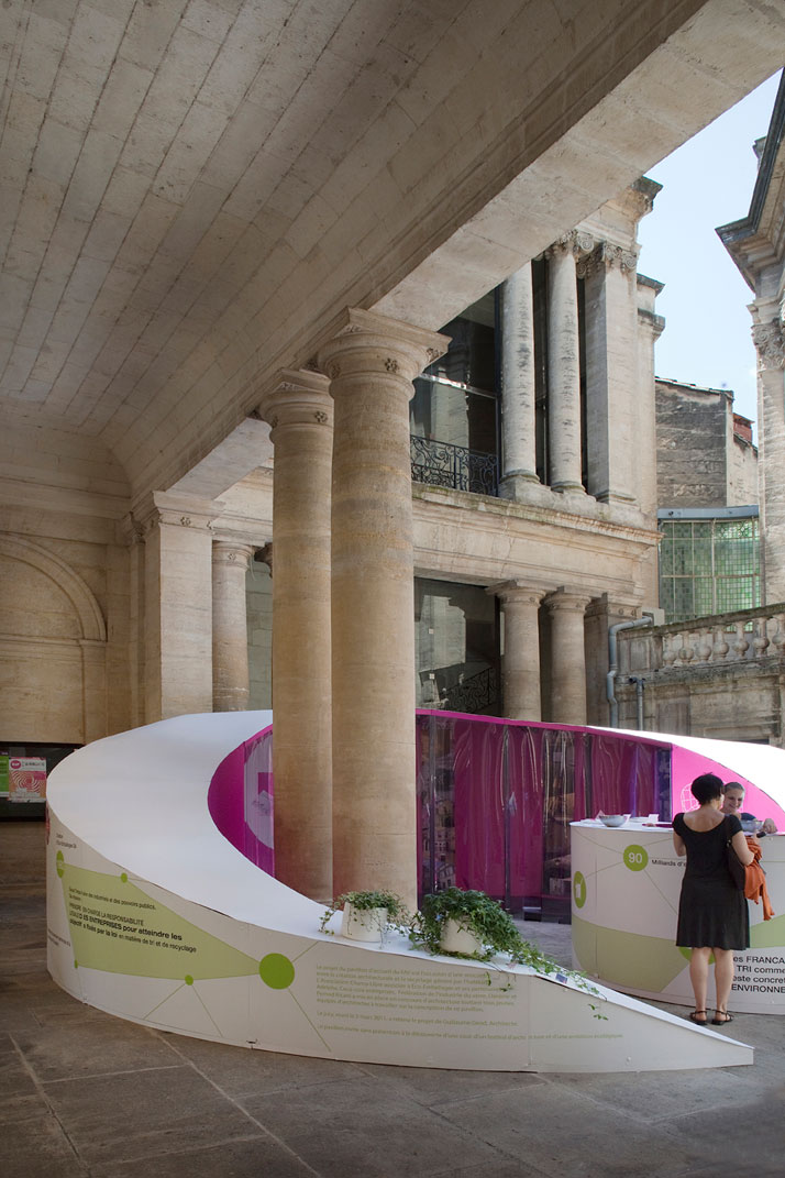 The intallation for the INFO Point of FAV by architect Guillaume Girod, Image Courtesy of FAV, photo © Paul Koslowski