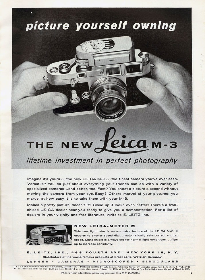 Leica M3 advertisement from its first year of production; U.S. Camera, December 1954