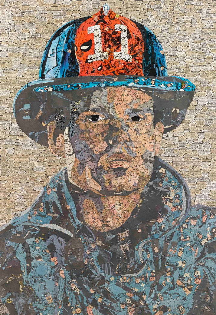 Ben Turnbull // Hero II, 2010Comic collage on wood // 124 x 88 cmCourtesy of Eleven, London and the artist