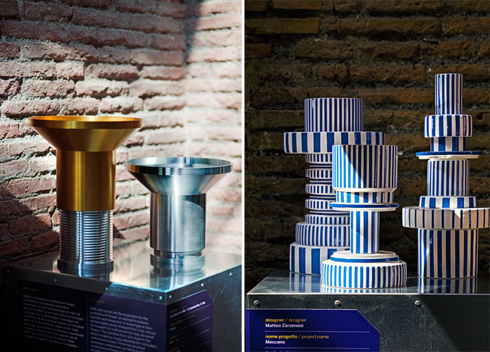 Left: ''Torque'' vases by Lanzavecchia + Wai, right: ''Meccano'' vases by Matteo Zorzenoni, for Mercedes-Benz Home Collection photo by Alessandro Rizz
