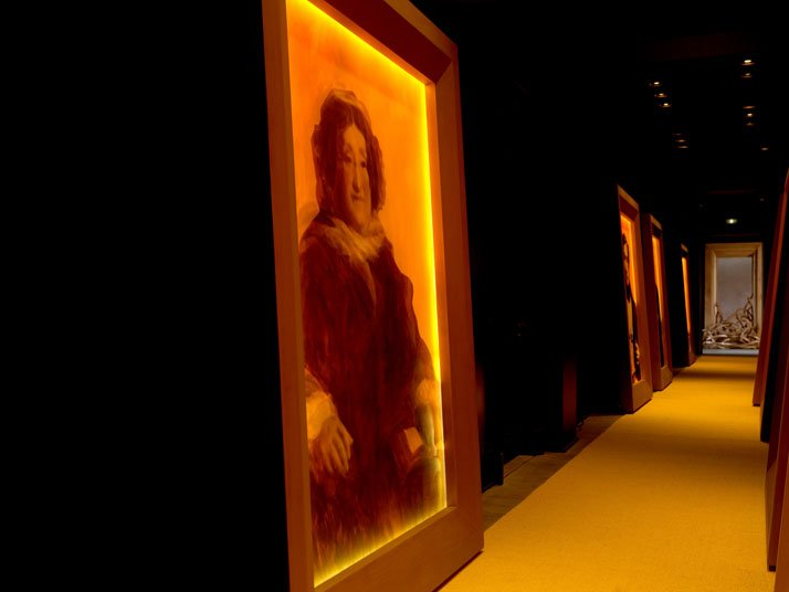 Portrait paintings gallery unlighted, Madame Clicquot portrait. Hôtel du Marc.  photo by Thomas Duval, Image Courtesy of Veuve Clicquot