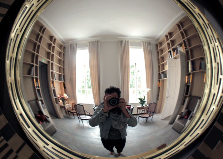 Self-portrait in front of Hervé van der Straeten's mirror in the Library,  Hôtel du Marc.  photo © Costas Voyatzis
