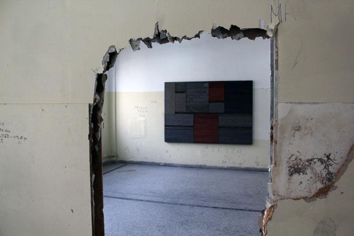 3rd Athens Biennale 2011 MONODROMEMichalis Katzourakis Vodolas M.56.A, 1995Mixed media on cotton duck and corrugated steel, steel profiles, 160×230 cm