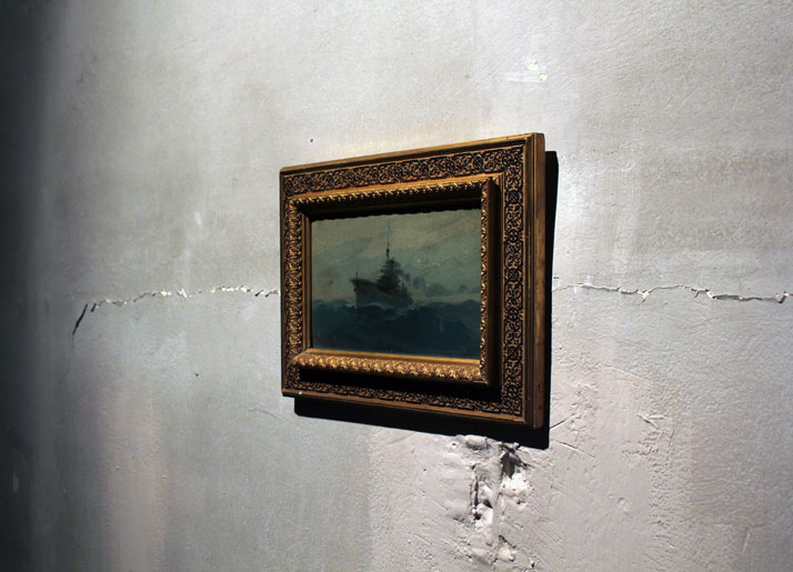 3rd Athens Biennale 2011 MONODROMEVasileios HatzisBattleship AverofOil on cardboard, 14×23.5 cmCourtesy of MARTINOS Antique Gallery installation view,