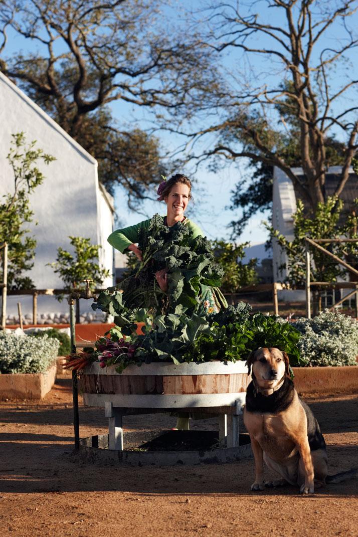 Gardener Gundula is harvesting for the restaurant, photo © Babylonstoren
