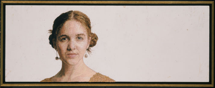 Sophie - Hand Embroidery: Crewel Wool and Acrylic on Linen, 14 x 35 inchesphoto © Cayce Zavaglia