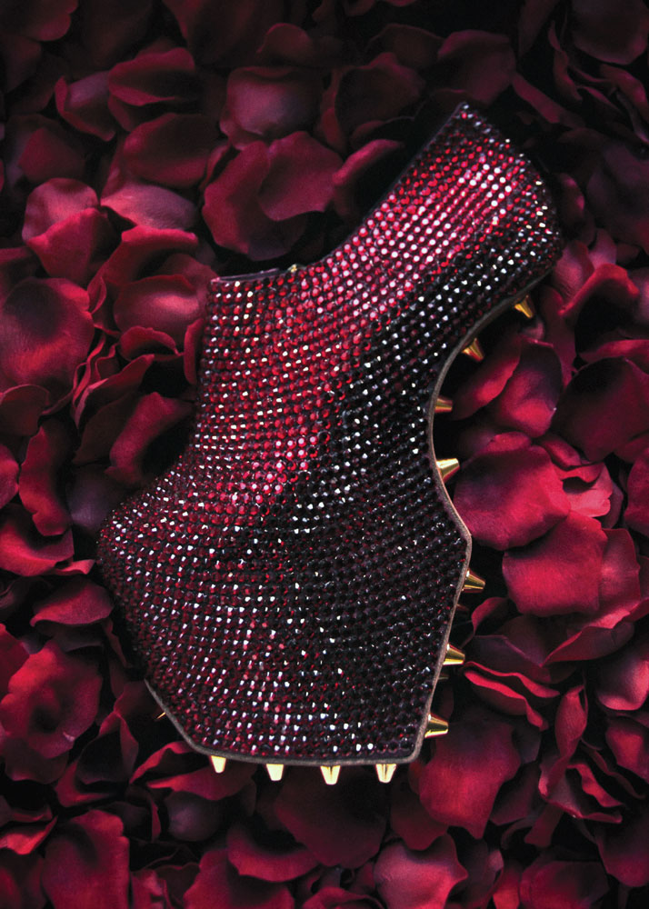 Crystal Rose' by Noritaka Tatehana. Chimera Spring Summer 2011.Red Swarovski and gold-studded solepublished in Design Behind Desire for THE CURATED CO