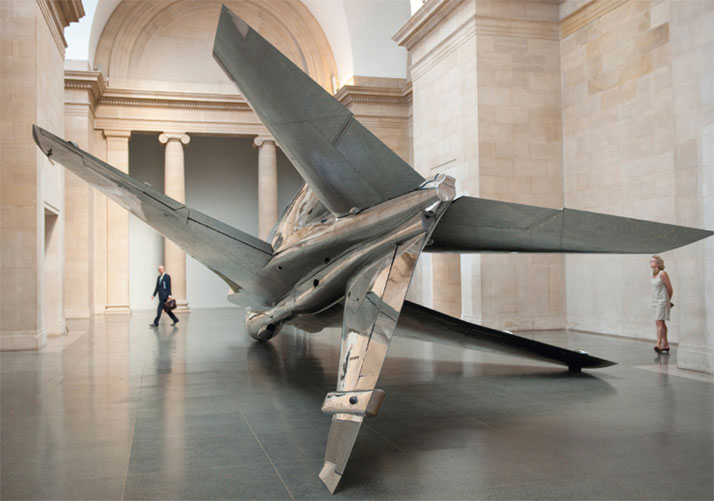 Harrier—2010—BAe Sea Harrier aircraft, paint, rigging // 7.6 x 14.2 x 3.71 mCourtesy of Fiona Banner // Photography: Tate