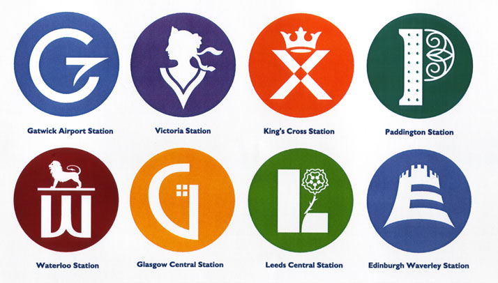 National Rail identity // Gatwick Airport: A new identification and sign system for use at Britain's major rail stations. Each station has its own sym