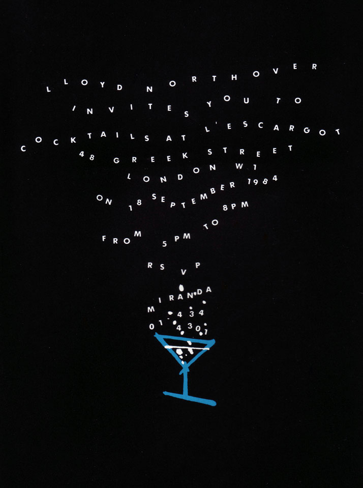 Lloyd Northover // Invitation: An evening of cocktails. 1984.Image Courtesy of John Lloyd Archive