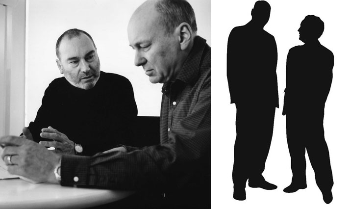 right: John Lloyd and Jim Northover, 1978, left: These silhouettes of John Lloyd and Jim Northover have been used over  the years to identify Lloyd No