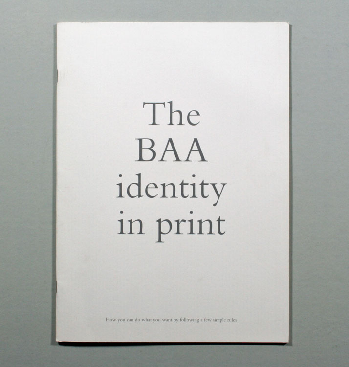 BAA // Guidelines that explain how the BAA identity should be used in printed communications. 1998.Image Courtesy of John Lloyd Archive