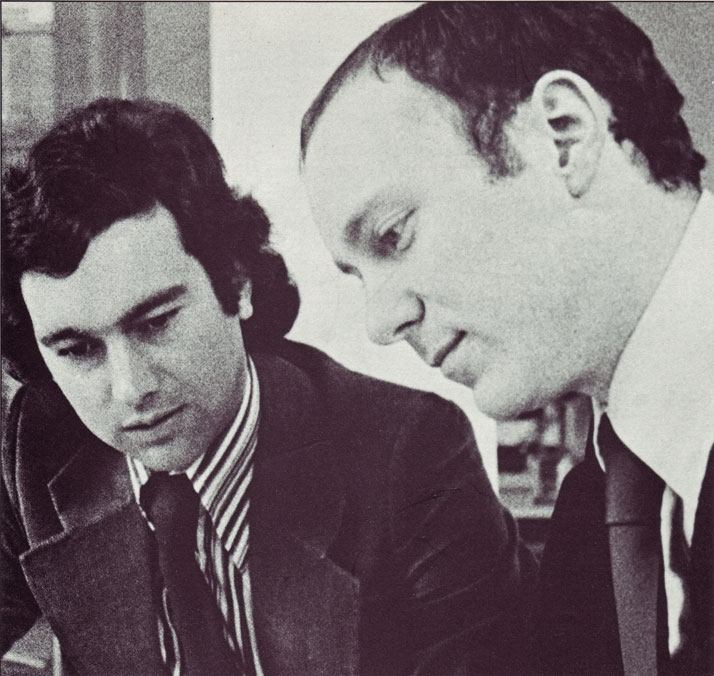 John Lloyd, left, with Jim Northover at the foundation of Lloyd  Northover in 1975 Image Courtesy of John Lloyd Archive