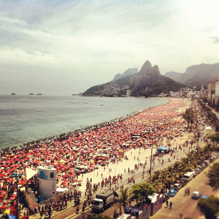 IPANEMA beach view from the roof of Fasano Al Mare, photo © Costas Voyatzis