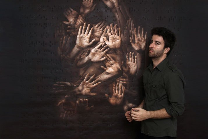 Roy Nachum in front of his Self Portrait, 2008-2009, Oil on canvas, (200x171cm)Courtesy of Roy Nachum