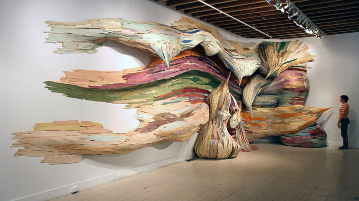 Untitled (brushstroke)|    Henrique Oliveira, 2011Boulder Museum of Contemporary Art, Boulderplywood and pigments11 x 3,5 x 1 m photo © H