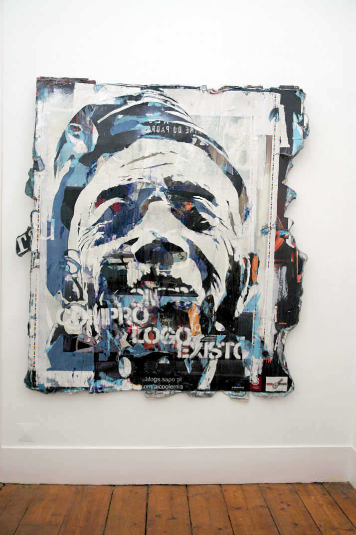 name:Compro, Logo Existo location: Portugal technique: Posters collected from the street dipped in resin, white paint year: 2008 photo © Alexandre Far