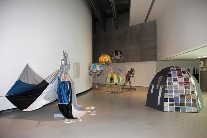 LUCY+JORGE ORTA, from left Flying Man, Reconnaissance Man, Dome Dwellin Celio, MAXXI 2012. Courtesy ZegnArt and the Artists