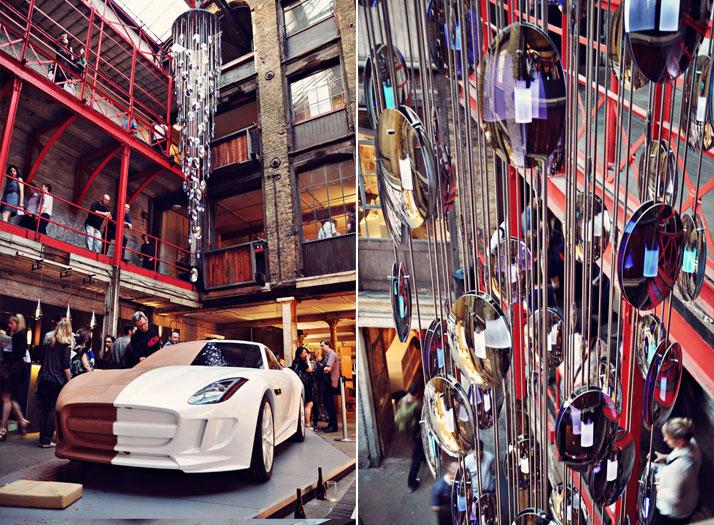 L: Jaguar Concept CarR: Bespoke installation by Beau Mclellan for CDWphoto © Ben Webb