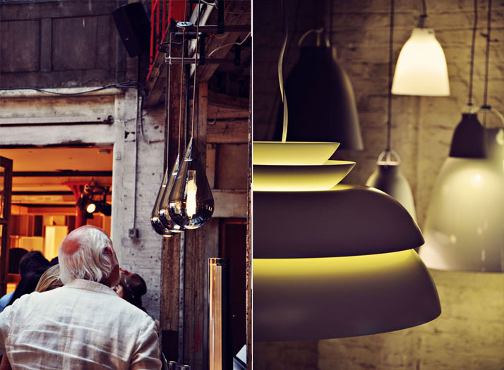 L: Fluid Pendant light by Beau Mclellan R: Concert Pendant light by Light Yearsphoto © Ben Webb