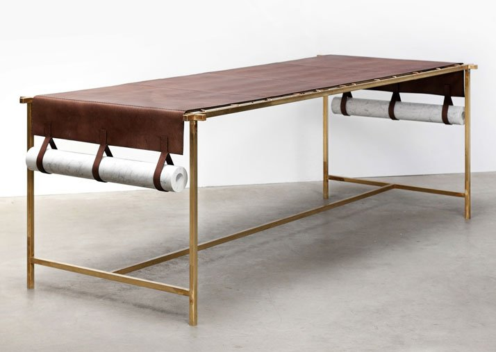 Leather table: Discarded Fendi leather, brass structure, marble weightsPhoto © Luisa Zanzani